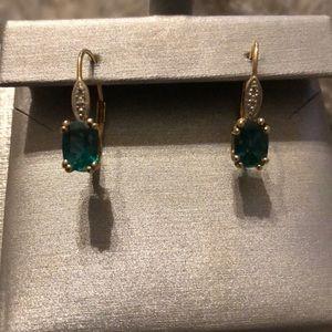 ZALES 14KT Gold Emerald Tear Drop Earrings